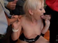 Small bukkake scene here cocksucking blonde