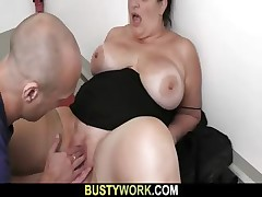 BBW in pantyhoses rails his enormous spunk-pump