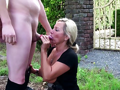German Step Mommy catch Sonny masturbate in Garden and Help with Fuck