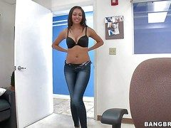 Erogenous young looking exotic brunette Bethany Benz with complete assembly